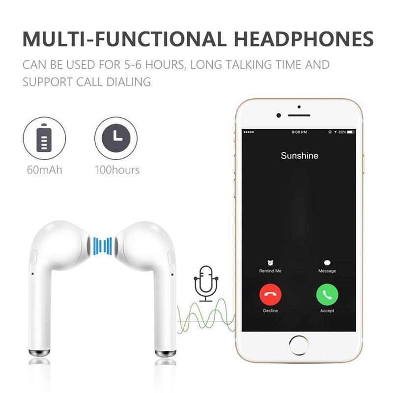 i7s TWS Wireless Earpiece Bluetooth Earphones With Mic For smart Phone iPhone